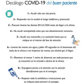Decálogo COVID-19 del buen paciente