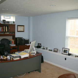 Home office in the basement