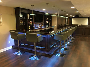 Custom built home bar with LED lights
