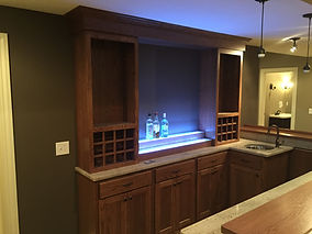 Back bar cabinets with liquor display