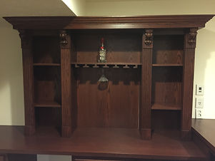 Home back bar with corbels and fluted casing