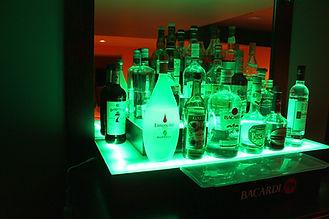 Home bar liquor display with LED lights