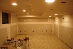 Basement drywall walls and ceiling