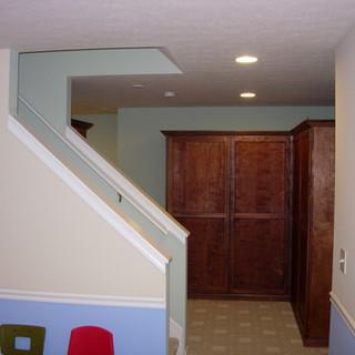 Cut open basement staircase