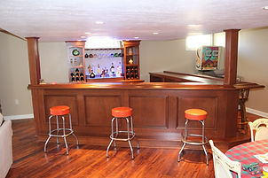 Home bar with pole obstructions