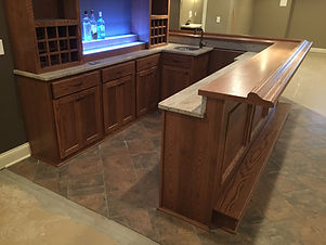2 level front bar with granite and wood