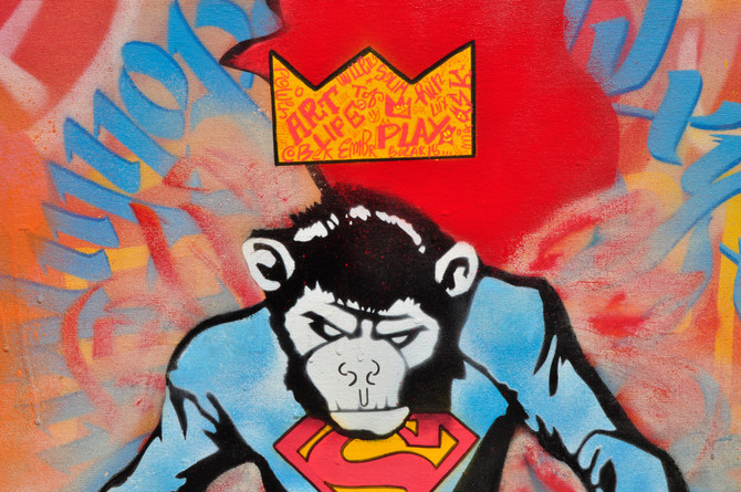 Super Monkey Graffiti  100 cm x 70 cm x 5 cm