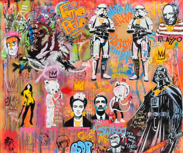 DAY COLORS RECOVER Technique: Graffiti   163X195 cm
