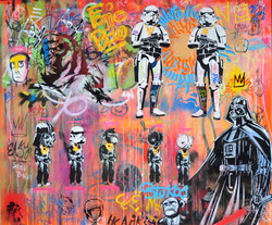 163X195cm canvas graffiti