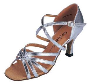 Silver Leather Open Toe - Stephanie Dance Shoe