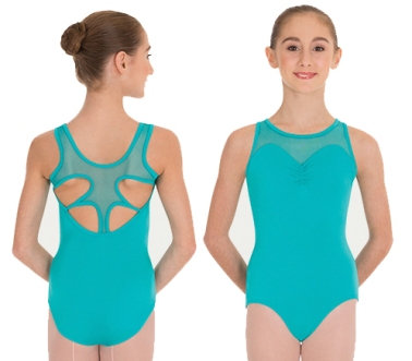 Pointelle Mesh Cut-Out Back Leotard - Body Wrappers
