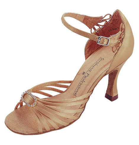 Tan Open Toe Strappy Ballroom Shoe - Stephanie Dance Shoes