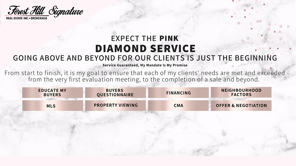 Buyer's Pink Diamond Service Maximum Results For Toronto, GTA Homes