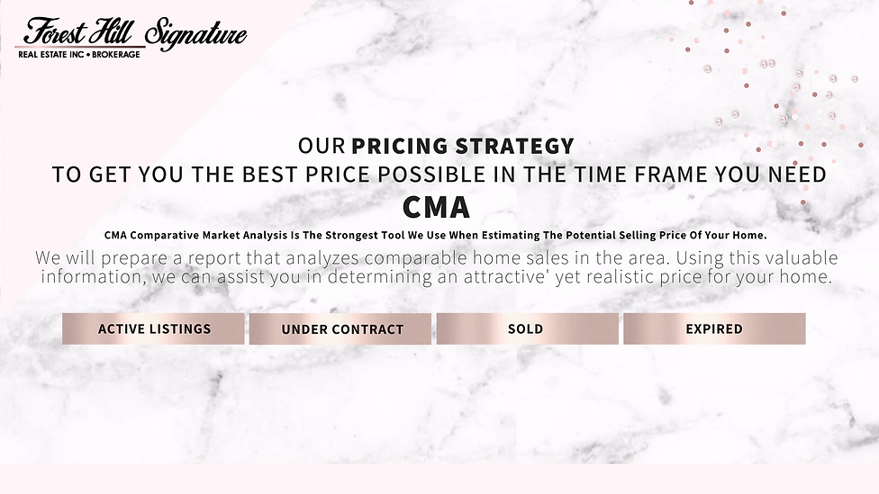 Our pricing strategy to get you the best price possible in the time frame you need is a CMA comparative market analysis