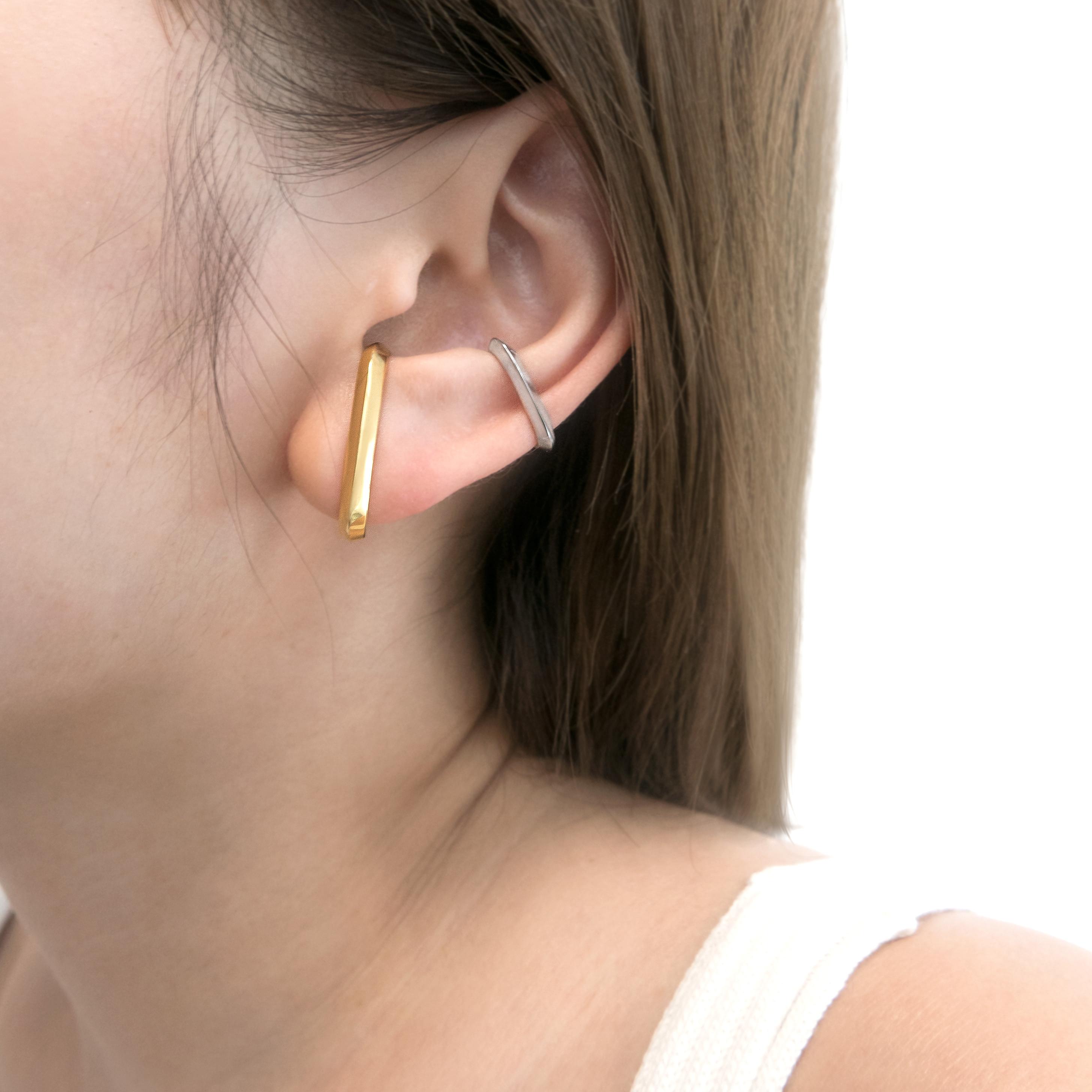 Large Crescent Earrings & Ear Cuff