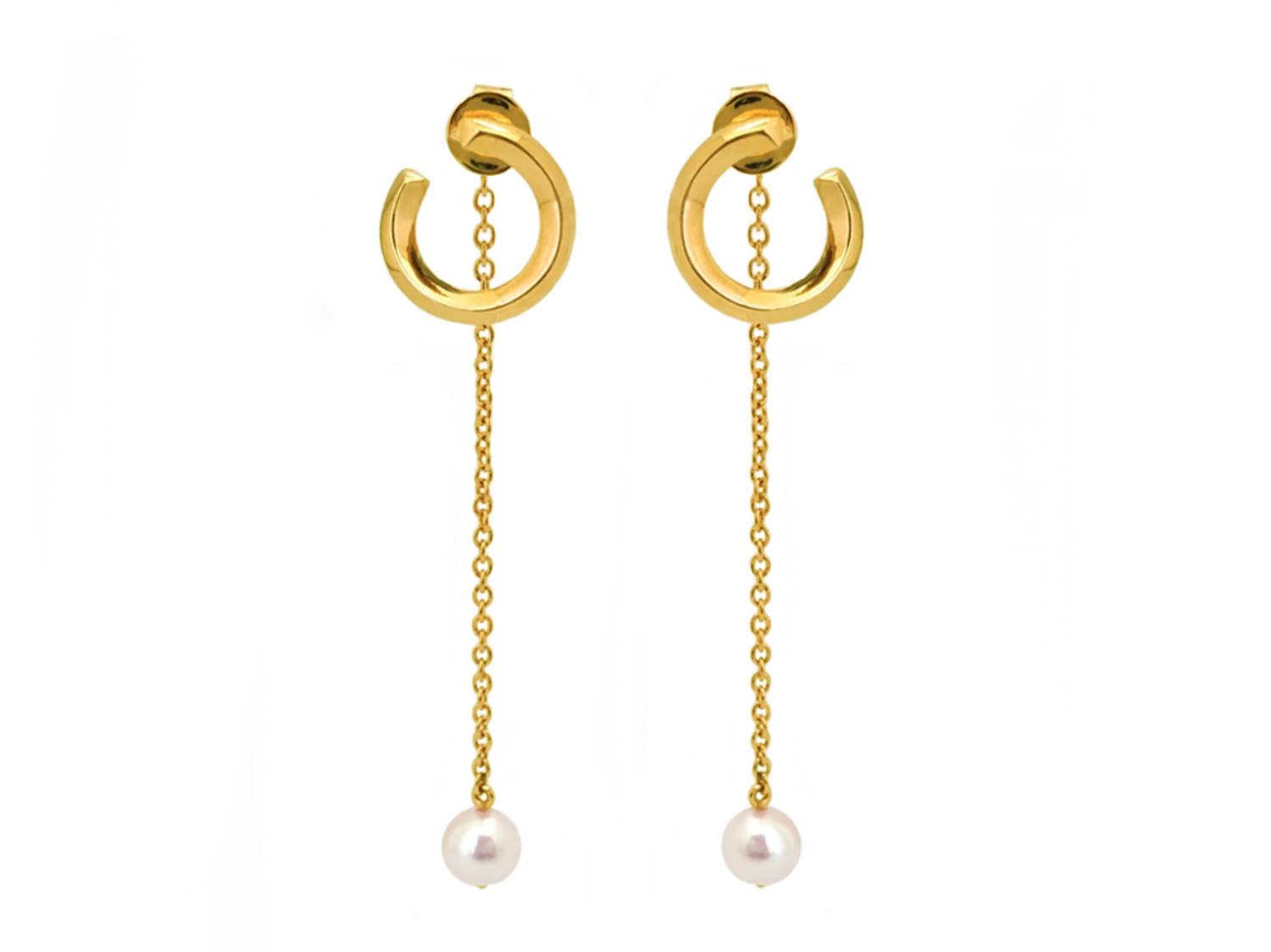 Rilo swirl pearl drop earrings-5