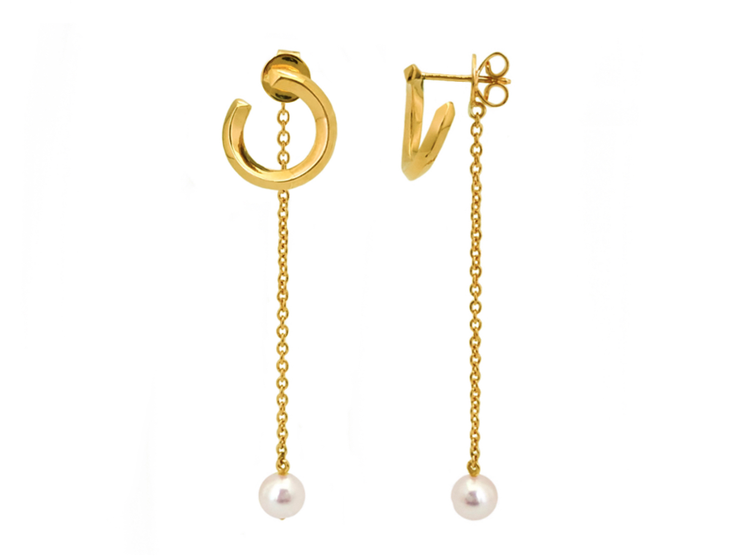 Rilo swirl pearl drop earrings-4