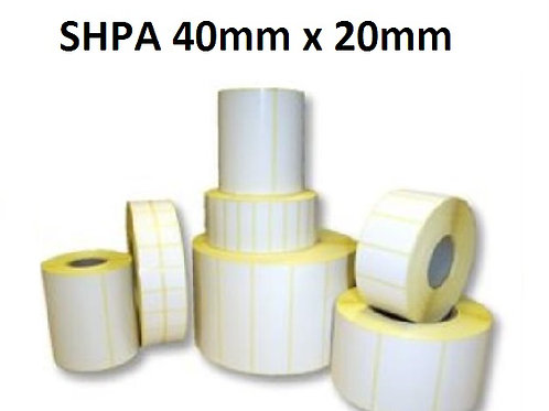 SHPA - Adhesive paper barcode labels 40mm x 20mm (5.000pcs)