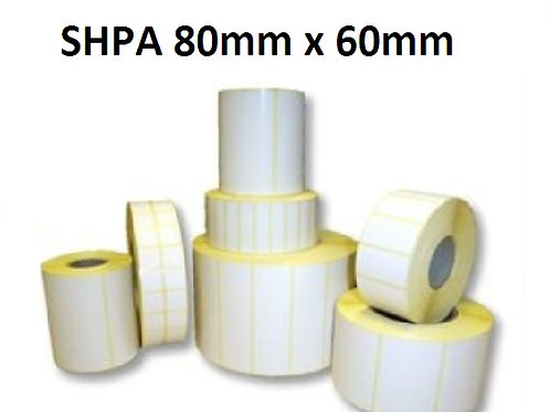 SHPA - Adhesive paper barcode labels 80mm x 60mm (5.000pcs)