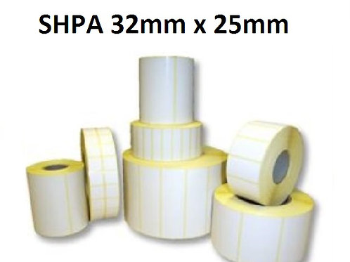 SHPA - Adhesive paper barcode labels 32mm x 25mm (5.000pcs)