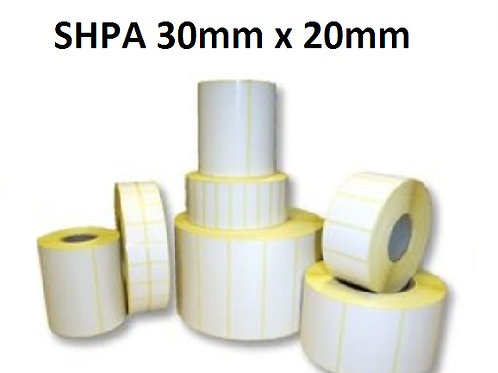 SHPA - Adhesive paper barcode labels 30mm x 20mm (5.000pcs)