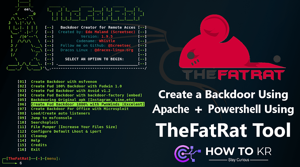 Create a Backdoor Using Apache + Powershell Using TheFatRat Tool - How To KR - howtokr