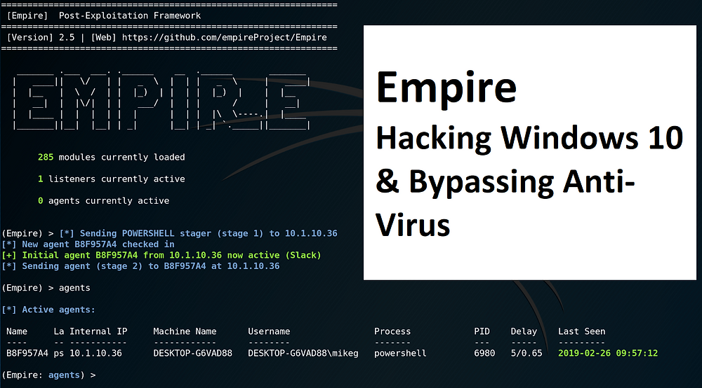 Empire : Hacking Windows 10 & Bypassing Anti-Virus  - howtokr -How TO KR
