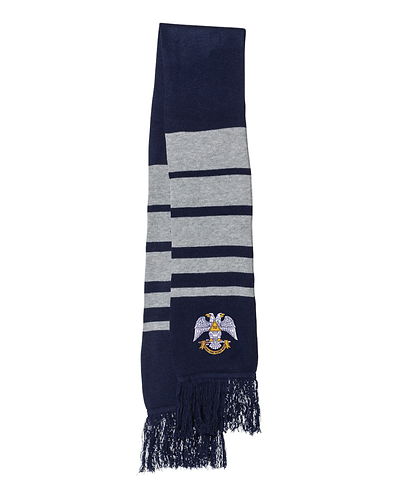 Embroidered Soccer Striped Knit Scarf