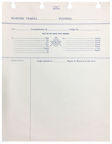 Post Binder Lodge Minute Sheets
