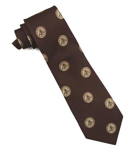Brown WMU Seal Silk Tie