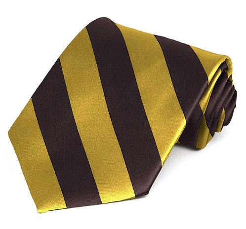 Brown & Gold Striped Tie