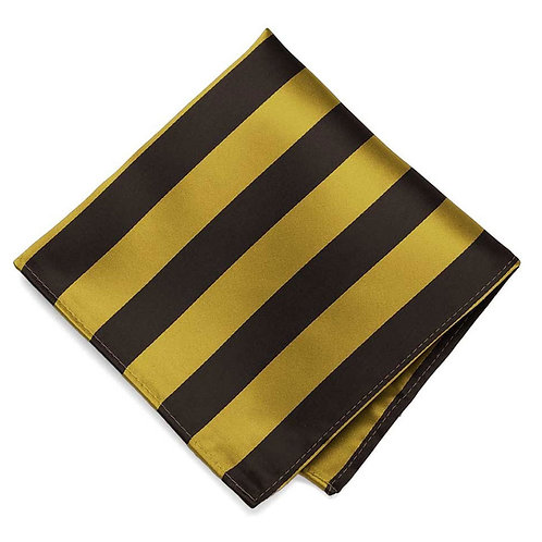 Brown & Gold Striped Pocket Square