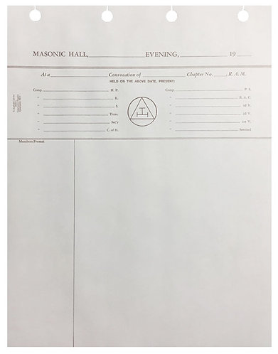 Chapter & Commandery Minute Sheets