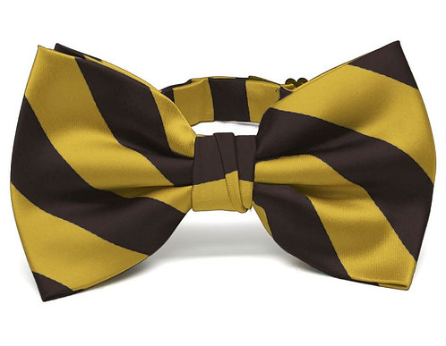 Brown & Gold Striped Bow Tie