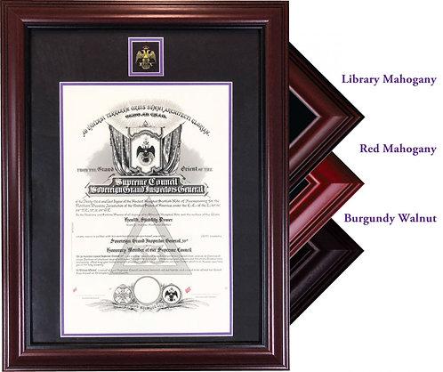 33rd Degree Certificate Frame