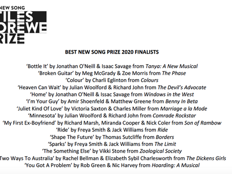 Stiles and Drewe Best New Song Prize 2020