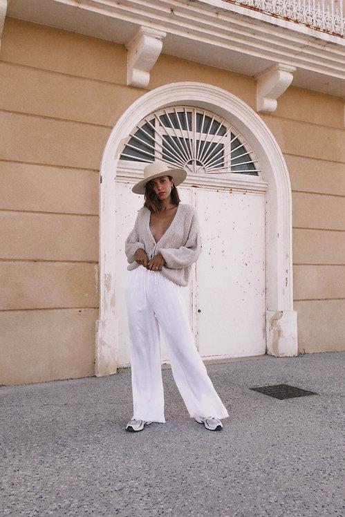 Pantalon Marseille satiné blanc