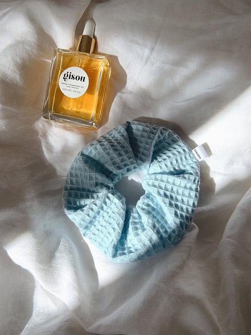 Chouchou éponge nid d'abeille bleu doux