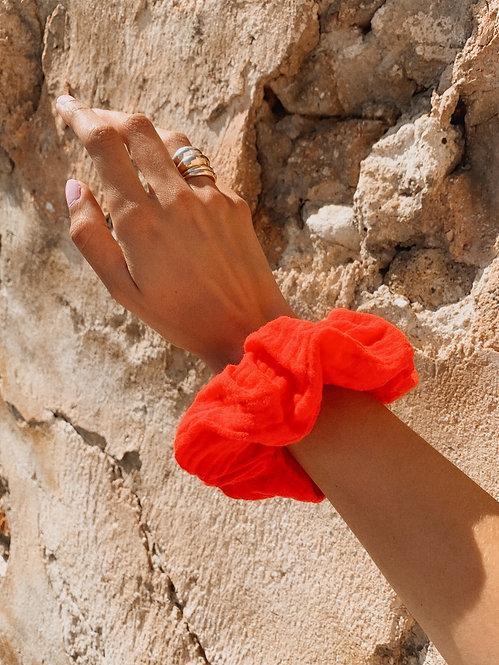 Chouchou gaze de coton rouge