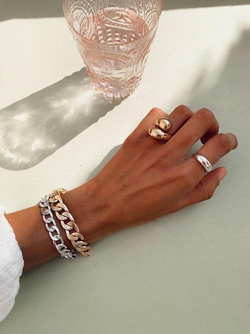 Silver curb chain bracelet