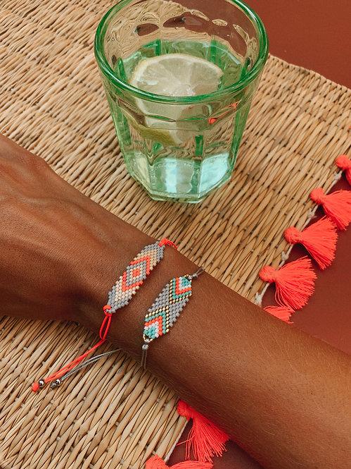 Bracelet Zonza corail & gris