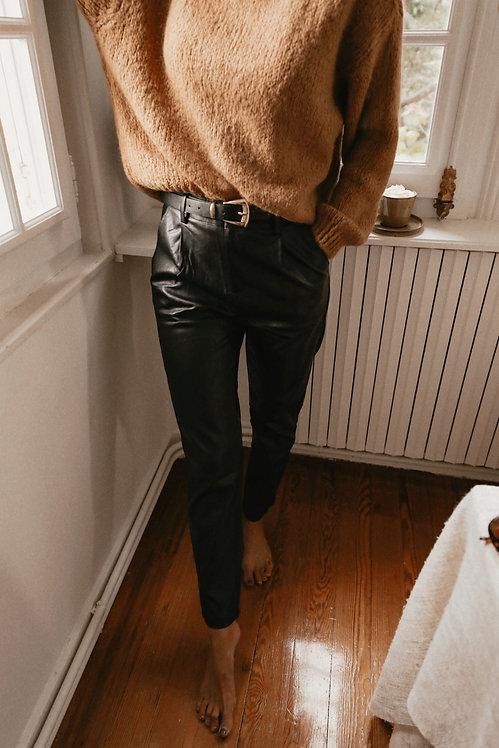 Pantalon Joe simili cuir noir