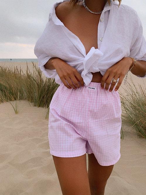 Pyjama short Sanary vichy rose et blanc