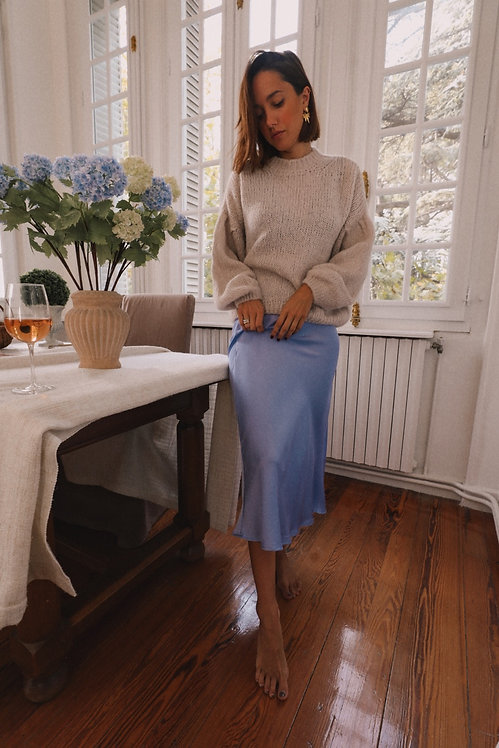 Bonnie lilac satin skirt