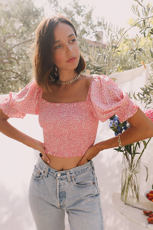 Suzette pink floral top