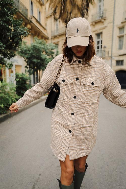 Prague beige houndstooth jacket / overshirt
