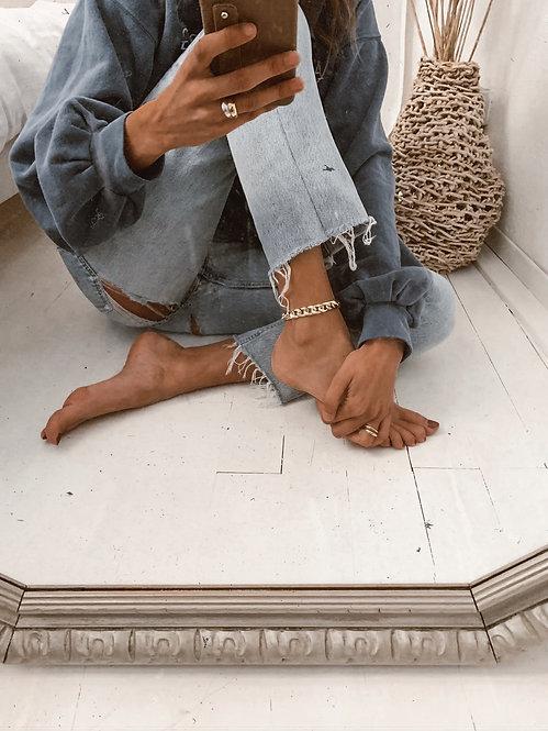 Chunky mesh ankle chain