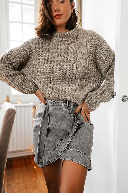 Louise skirt in gray denim