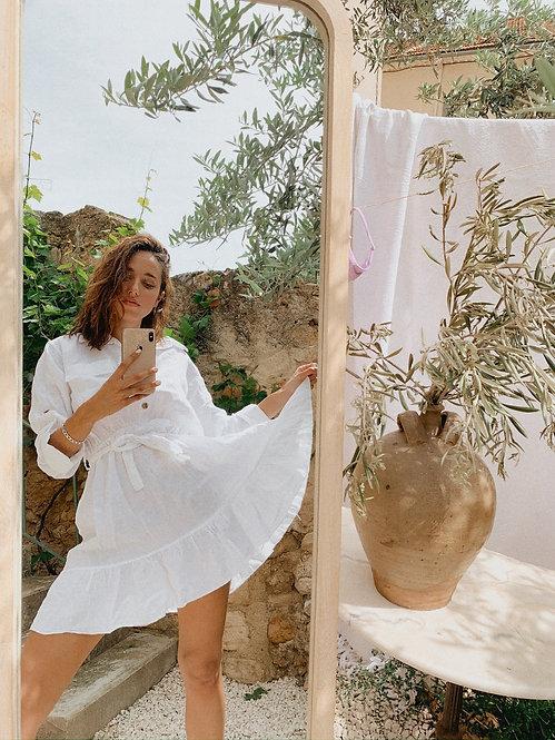 Robe Liz 100% lin blanche