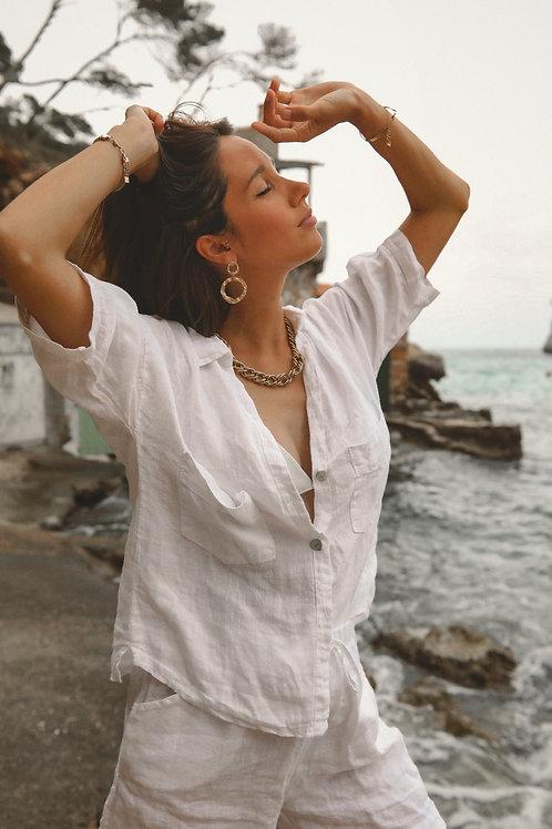 Pure linen white Alcudia shirt